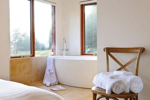 Stunning free standing designer stone bath – to relax in and watch the busy wildlife outside, Adventure Bay Retreat, Bruny Island.