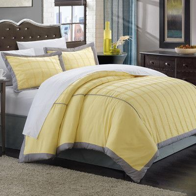 chic home angelina 7 piece duvet cover set size queen color yellow