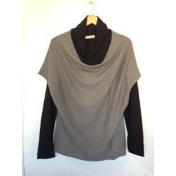 """Karen"" Drape Neck Vest, Grey Mix: Cozy cashmere and cotton blend pullover style vest with lovely draped neckline!"
