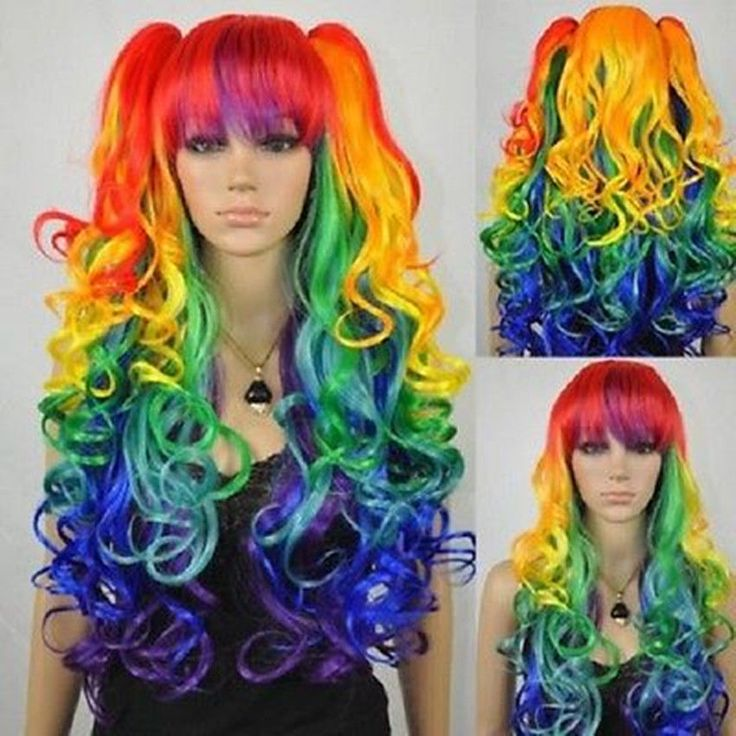 New mixed colors Lolita Girl women long wavy curly Cosplay hair wig 2 ponytail | Health & Beauty, Hair Care & Styling, Hair Extensions & Wigs | eBay!