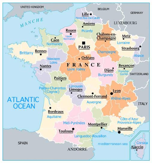MAP OF FRANCE REAGIONS WITH CITIES | France Map MAPPING OUT 2014 TRIP.....