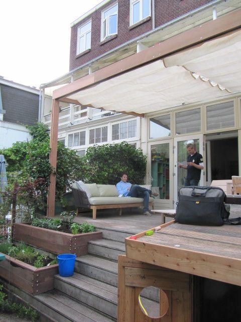 Terras overkapping/ zonneluifel - woonhuis Amsterdam Watergraafsmeer, door David Interieurbouw