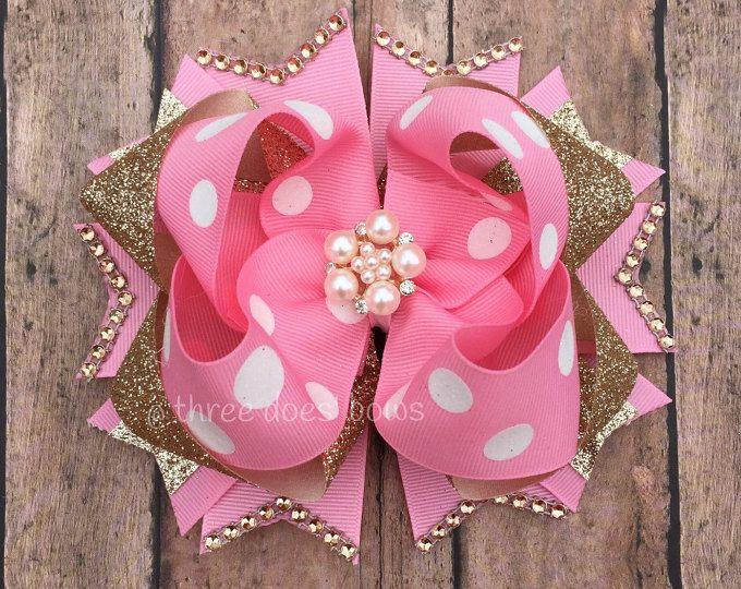 Boutique rosa y oro arco - arco del pelo de rosa y oro - rosado y oro primer cumpleaños - rosa y oro apilan arco - arco de cumpleaños color rosa y oro