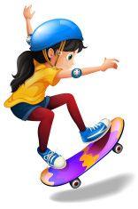 Young girl skateboarding vector art illustration