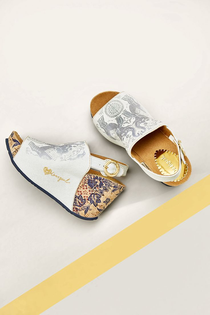 Sandals swan elephant with ethnic pattern and gold buckle