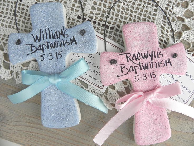 Baptism Gift for Twins Salt Dough Crosses Set of 2 Personalized Ornaments / White, Pink or Baby Blue