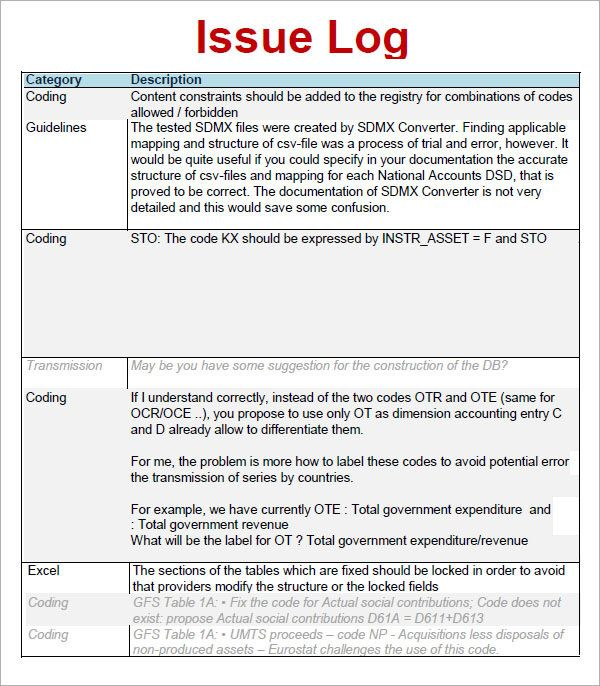 Issue Log Template from i.pinimg.com