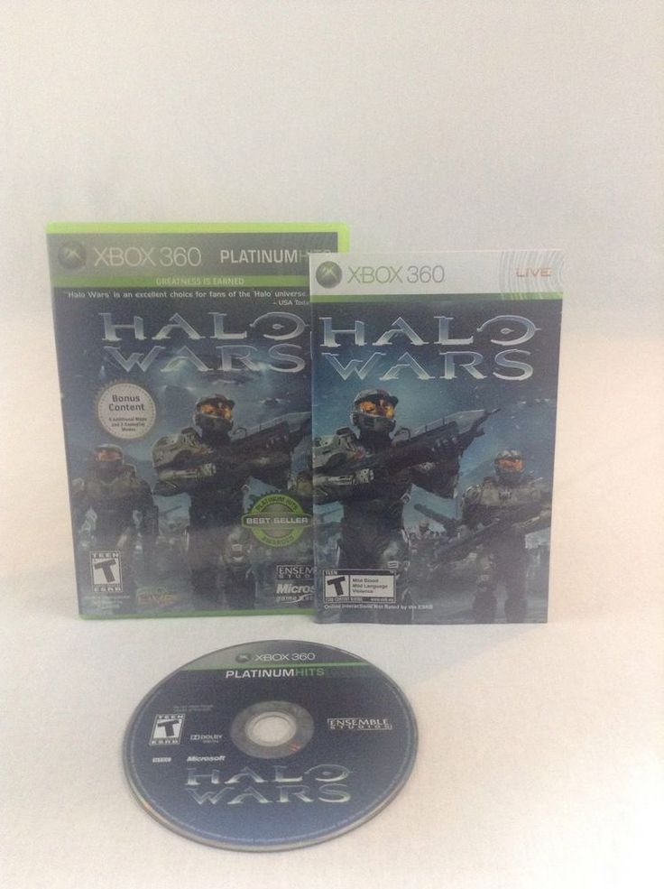 2009 Tested & Working Microsoft Xbox 360 Platinum Hits Halo Wars Combat Video Ga #Xbox360
