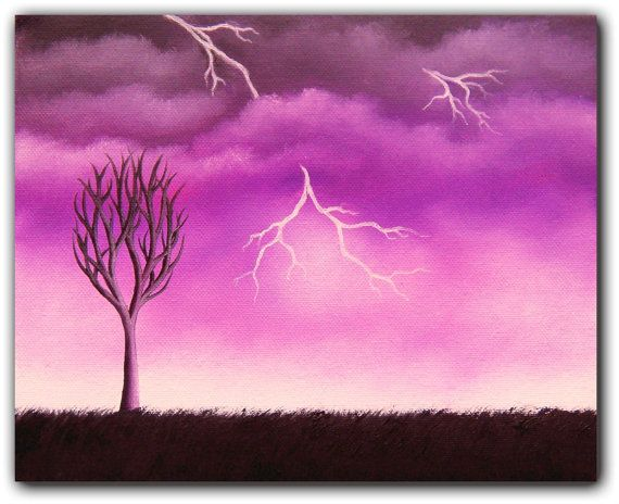 Lightning Bolt Oil Painting Dark Sky Landscape by BingArt on Etsy