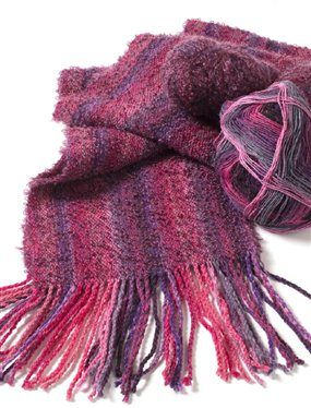 Weave up this fun scarf on a rigid-heddle or 2-shaft loom using inexpensive sock yarn. Love it!