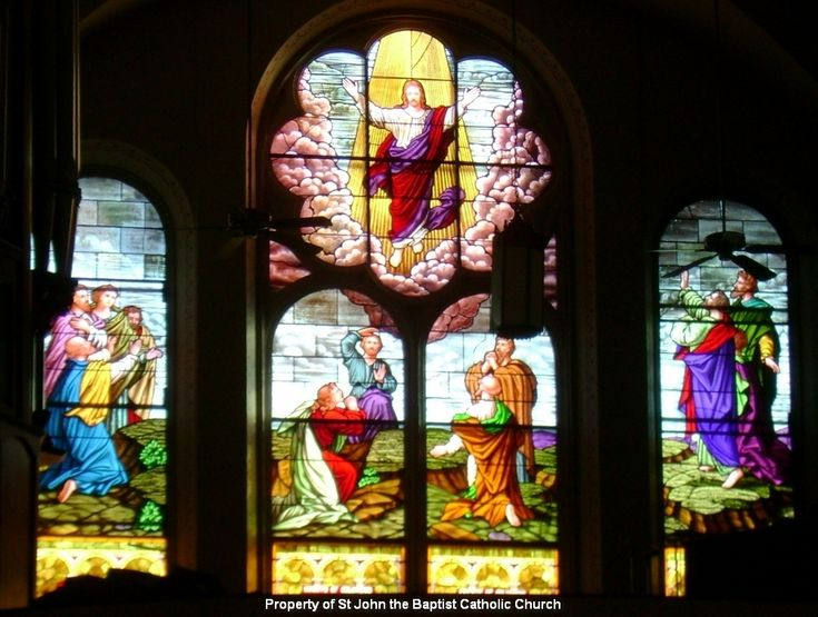 Beautiful Catholic Prayers. Stained Glass Window, choir loft - St. John's Catholic Church, Beloit Kansas. http://SimplicityHumilityTrust.org