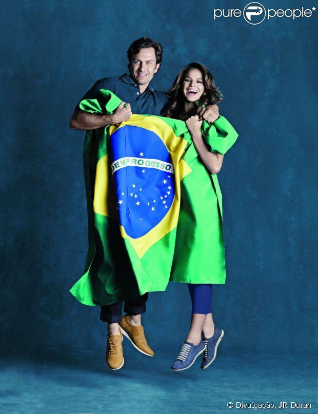 Bruna Marquezine e Gabriel Braga Nunes foram clicados no clima da Copa do Mundo 2014 para a grife Mr. Cat
