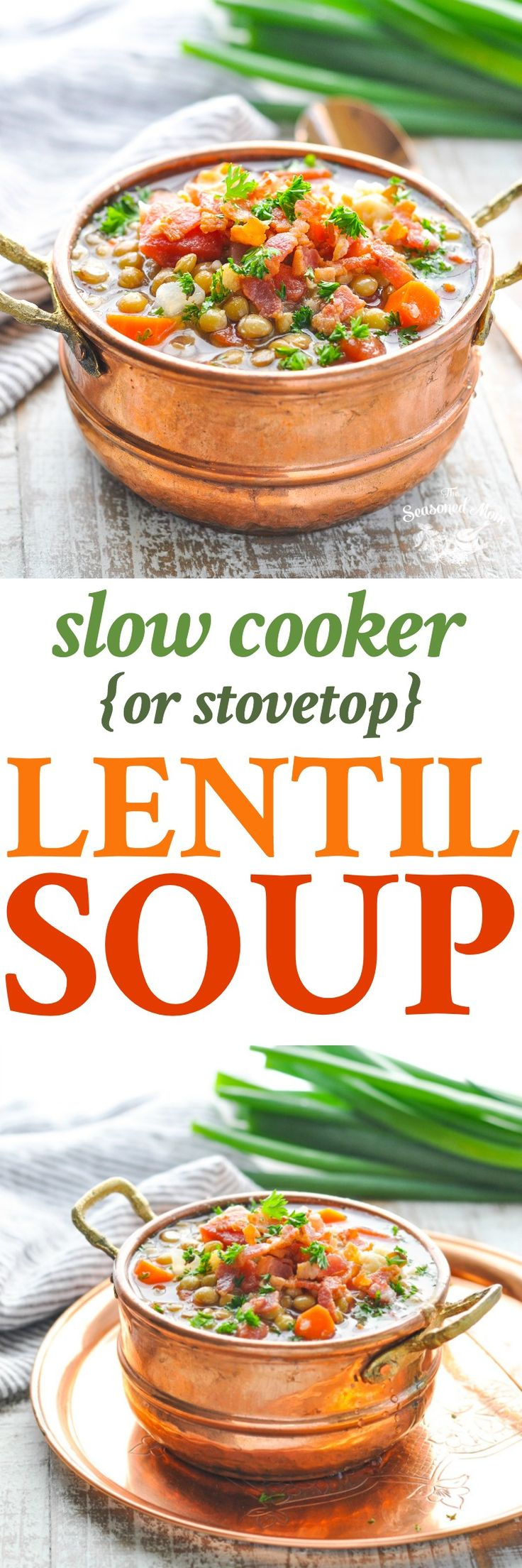 Long vertical image of Slow Cooker or Stovetop Lentil Soup