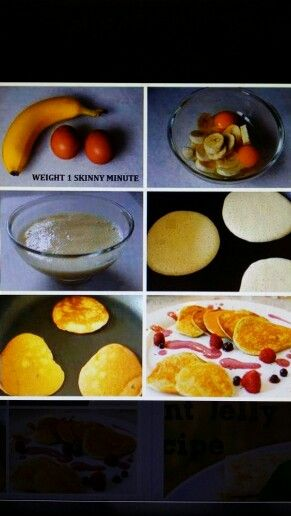 """ALL NATURAL PANCAKE RECIPE! (by: Everything Kitchen & Cooking Facebook Blog) - 1 ripe banana - 2 whole eggs That's it. Just mix in a bowl. Make sure the banana is all mashed. Then spray your pan with some """"spray & cook"""" or coconut oil. On a low to medium heat, scoop some of the batter into the pan & give it about 20-30 sec, flip, and done! Serve and eat! *Some advice, make them small so its easier to flip. Under 250 calories, nearly 14g of protein! These pancakes are GLUTEN FREE."""