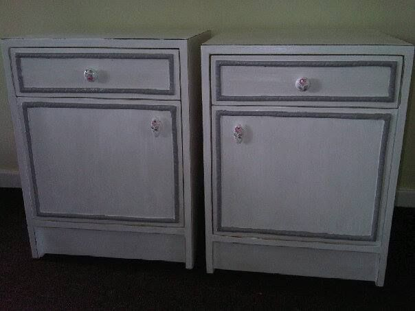 Solid Wood Bedside Tables in perfect condition, painted in antique white with shabby chic finish.   To view more items please visit my Facebook pages at: http://www.facebook.com/ArmstrongHomeDecor