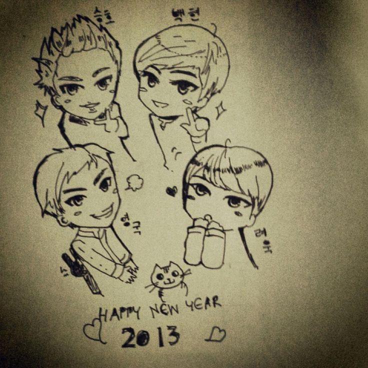pairion: Happy new year งิ~ main #seungho #baekhyun #yonggook #ryeowook