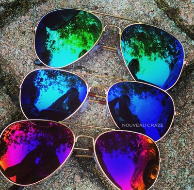 Cool Colors Mirror Aviator Fashion Sunglasses - Green Blue Pink Red