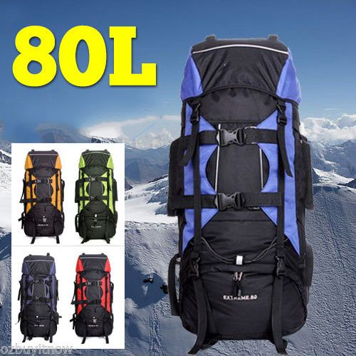 80L-Extra-Load-Outdoor-Backpack-Rucksack-Bag-Camping-Hiking-Travel-Choose-Colour