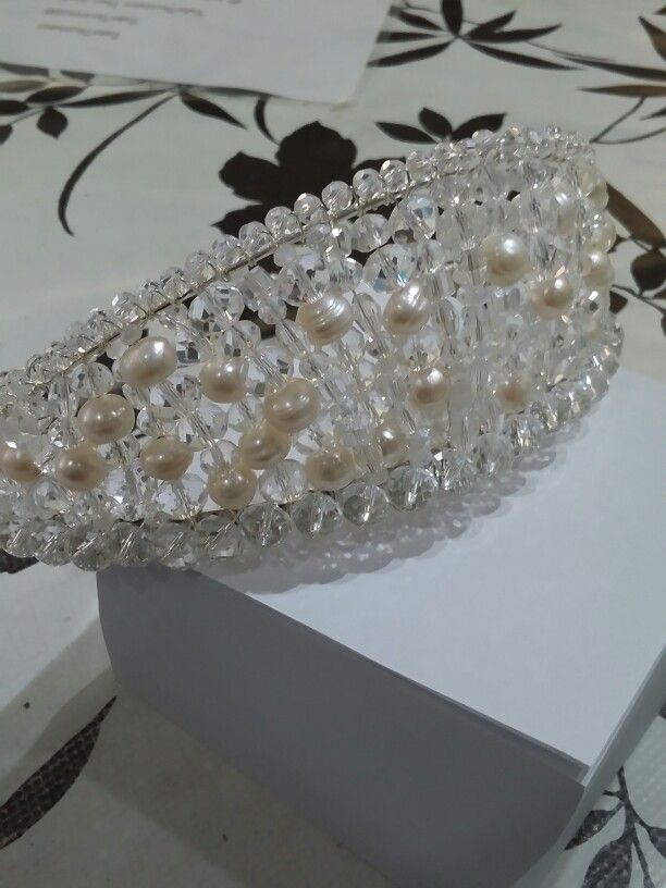 Handmade tiara  with Chinese crystal glass and freshwater pearls