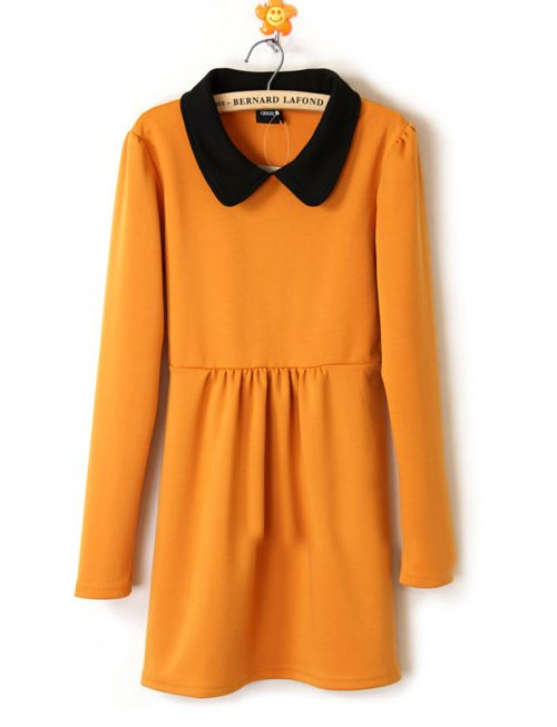 yellow winter long sleeve dress.