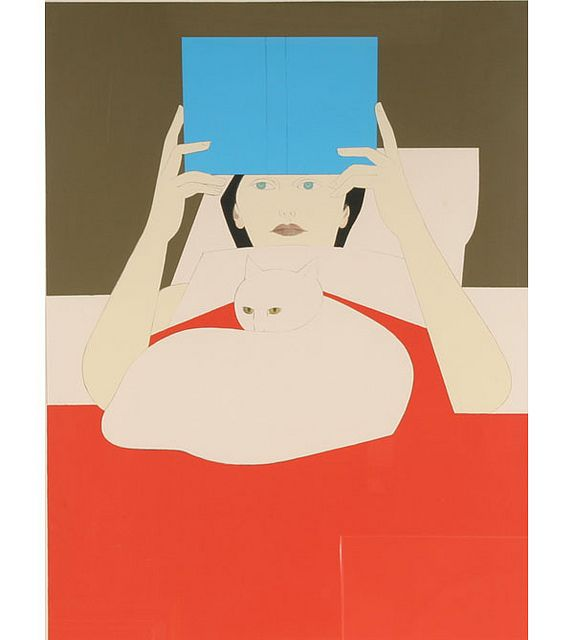 Woman Reading  |  lithograph of woman and white cat, 1970 | Will Barnet