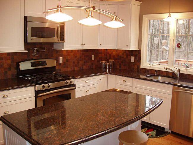 slate backsplash  granite countertop  Tan  Brown