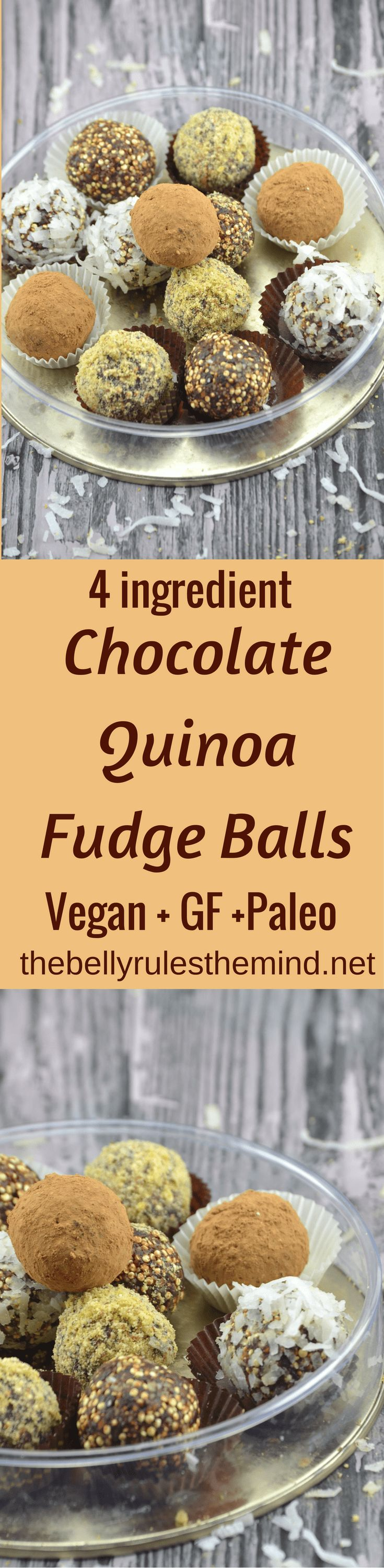 Chocolate Quinoa Fudge Balls :These energy balls work great as a pre or post-workout option for adults or an after school snack for kids.@dbellyrulesdmind