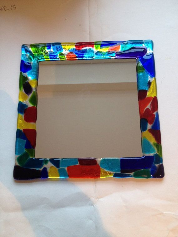 Pop Art style mirror framed in multicoloured fused glass by AndyBullGlassArt