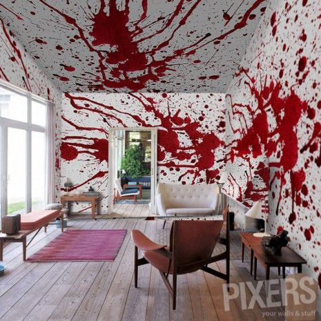 Blood Bath Wallpaper Style Your Home Or Office With That Screams This Splatter