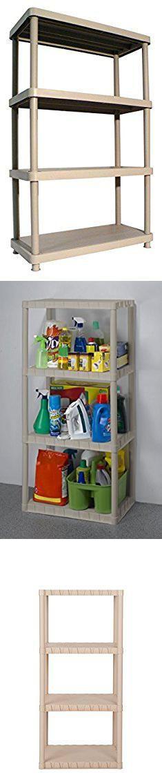 Plastic Storage Units. Keter 4-Shelf Heavy Duty Freestanding Plastic Shelving Unit Storage Rack, Sand.  #plastic #storage #units #plasticstorage #storageunits