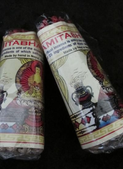 Amitabha Buddha. Amitabha Buddha ritual incense is one of the ancient traditional arts of the monastic order of Tibet. It is composed of 25 ingredients which include saffron, nagi, red and white sandalwood. Made by hand in Nepal.