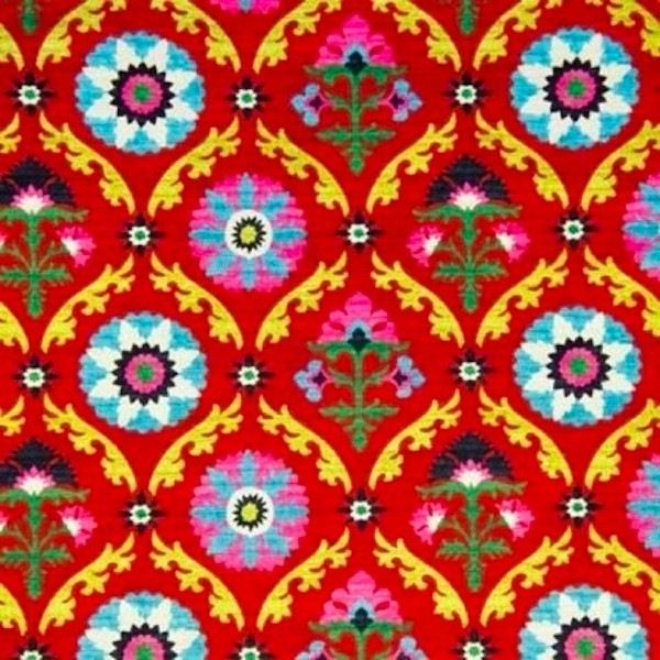 "Tailored 18"" Mayan Medallion Desert Flower Suzani Twin Bedskirt mediterranean-bedskirts"