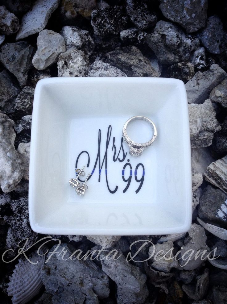 """Thin Blue Line """"Mrs. -badge number-"""" Police Wife Sheriff Wife Deputy Wife Trooper Wife Ring Dish by KFrantaDesigns on Etsy https://www.etsy.com/listing/222687468/thin-blue-line-mrs-badge-number-police"""