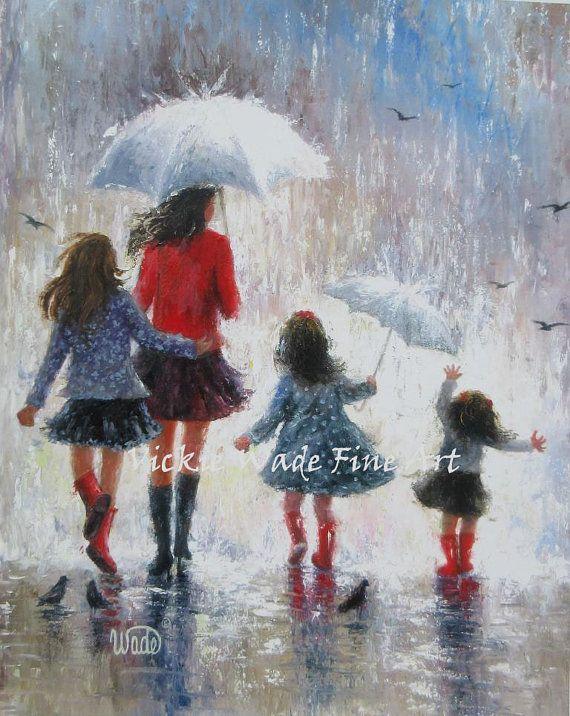 Mother and Three Daughters Art Print, three girls, mothers day gift, rain girls…