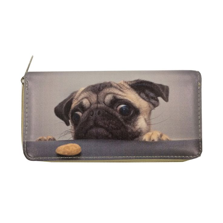 Cute and fun, this zip-around wallet features a digital printed puppy design on faux leather. With a variety of slots and compartments inside, this wallet will keep your must-have items at your fingertips.