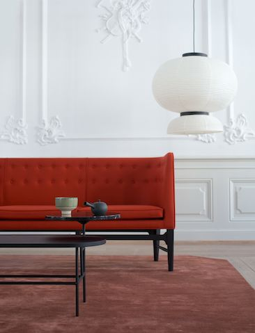 Mayor Sofa by Arne Jacobsen and Flemming Lassen, Formakami Pendant and Palette Table by Jaime Hayon, The Moor Rug by All The Way To Paris.