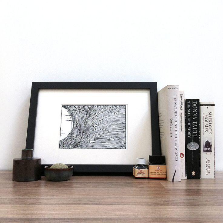 Diertjes in mijn haar illustratie glicee print door Mouseblossom