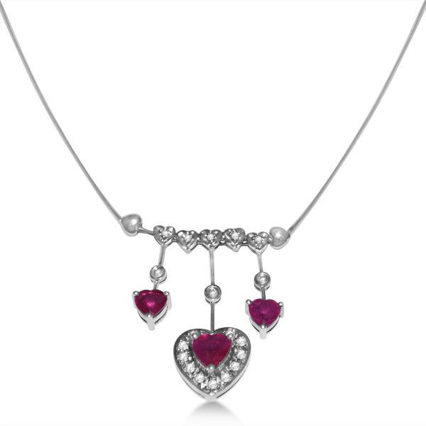 Diamond and Ruby Heart Necklace in 14k White Gold (2.05ct) #Pendant