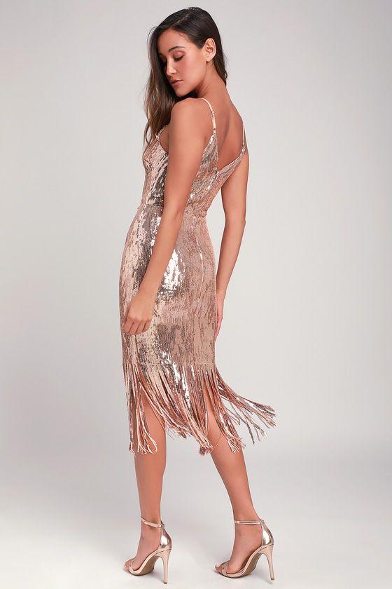 a1c52ebc Anjou Rose Gold Sequin Fringe Midi Dress | feeling good and looking ...