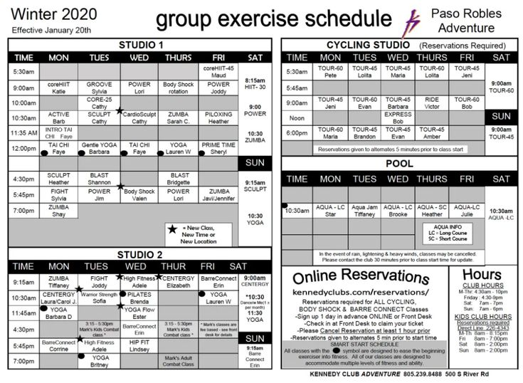 Paso robles class schedule in 2020 paso robles class