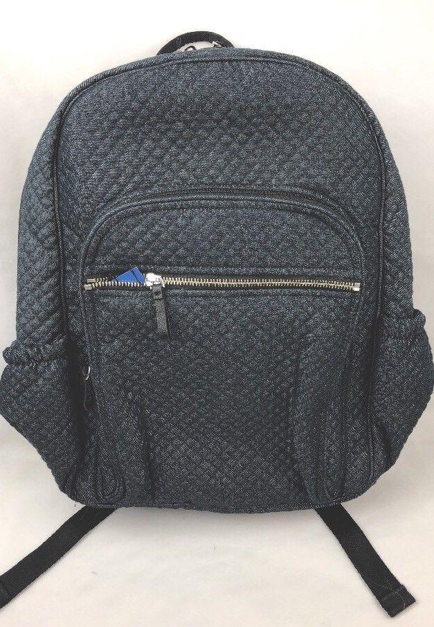 6d4167c42 NWT Vera Bradley Iconic Deluxe Campus Backpack in Denim Navy Full Line Bag  | eBay