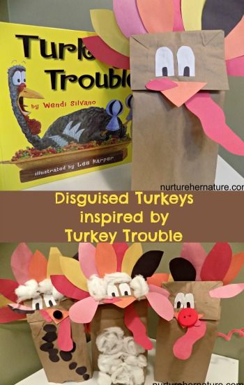 We made paper bag turkeys and disguised them as barnyard animals to avoid the fate of Thanksgiving. We've been reading the Thanksgiving Children's book Turkey Trouble this Thanksgiving season - Nurture Her Nature