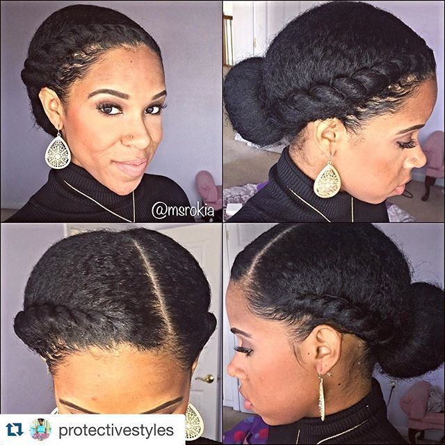 Love this style #hairgoals....#Repost @protectivestyles with @repostapp. ・・・ By @msrokia Don't feel like washing your hair, but tired of wearing a basic bun? Spice it up with some flat twists