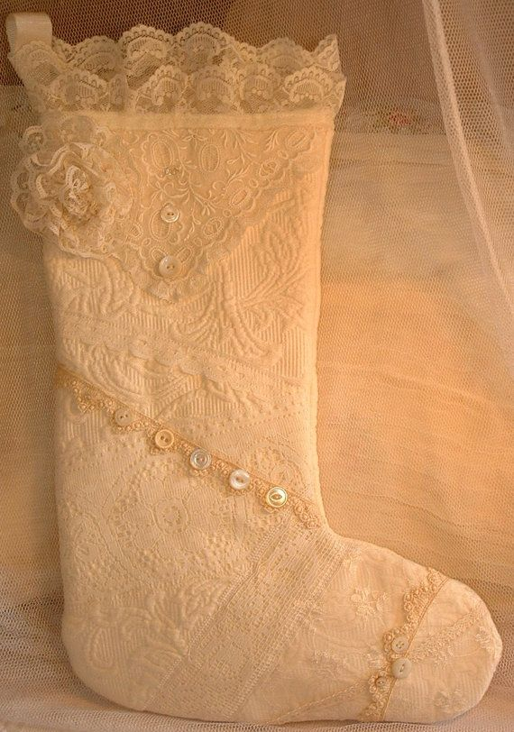 Ivory Lace Christmas Stocking