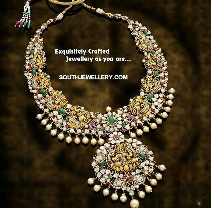 22 carat gold peacock nakshi haram featuring Goddess Lakshmi pendant adorned with rubies, emeralds, flat diamonds and south sea pearls by Sri Mahalaxmi Gems and Pearls.