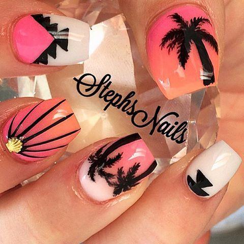 11weeks ago my fav summer nails  #palmtrees#pink#orange#summercolors#notpolish#tribal#cutenails#seashellstuds#love#stephsnails#stephset