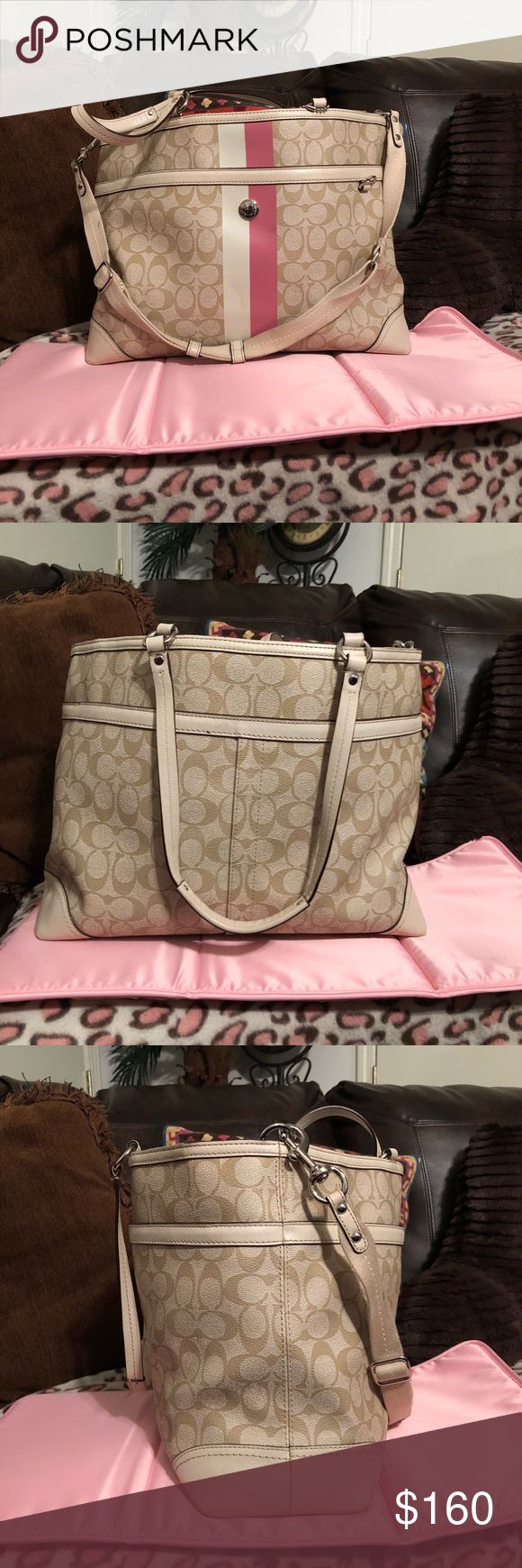 Coach Diaper Bag Coach Diaper Bag-excellent condition, leather, one small stain on inside shown in last picture. Includes changing mat. Coach Bags Baby Bags