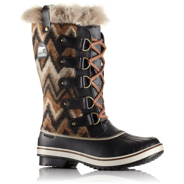 Sorel Tofino Faux Fur Trimmed Waterproof Blanket Boot (Women) ($100) ❤ liked on Polyvore featuring shoes, boots, black, mid-calf boots, black lace up shoes, black mid calf boots, mid calf lace up boots and waterproof shoes
