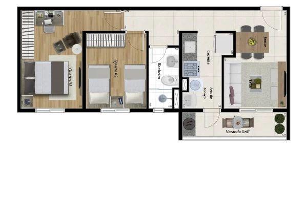 Planta Apartamento de 54m²