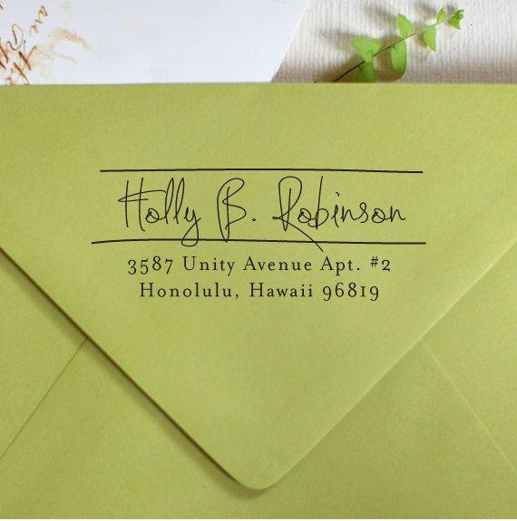 Custom Address Stamp - Wood Handle - cute personal wedding housewarming gift - 1007
